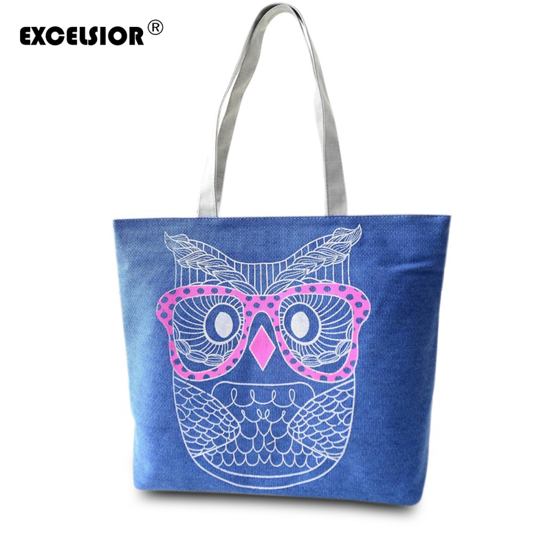 EXCELSIOR Unique Design Female Beach Bags Cartoon Owl Printed Canvas Tote Women Single Shopping Handbags High Capacity Tote owl and floral print canvas bag women flowers handbags large capacity female shoulder bags single shopping bag casual beach bags