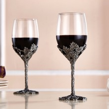 Creative Enamel Wine Glasses  Champagne Glass Gifts 2Pc Set Flutes Crystal Toasting