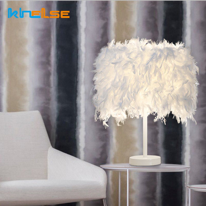 Modern Feather Table Lamp E27 LED bulb White Feather Deco Desk Lamp Bedside Reading Room Kids Child Bedroom Light EU US Plug