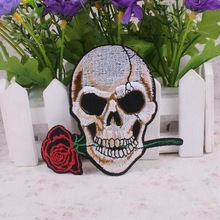 1PC Punk Biker Embroidery Patch Skull Rose Iron on Patches Fine Workmanship DIY Badge Garment Accessory