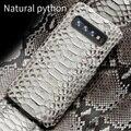 Echte Python Leder telefon fall Für Samsung galaxy s10 S10 Plus S9 s7 s8 Plus Snakeskins abdeckung für a50 A70 a8 a7 2018 Hinweis 10 S10E S10 Plus S8 Plus S7 Edge S9 Plus Note 10 plus 9 8 A10 A20 A40 A60 J6 J4 J7|Halbumwickelte Hülle|   -