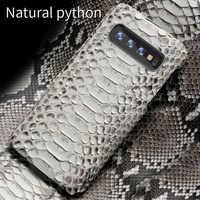 Python genuína telefone estojo de Couro Para Samsung galaxy s10 S10 Plus S9 A70 s7 s8 Mais Peles de Cobra capa para a50 a8 a7 2018 Nota 10 S10E S10 Plus S8 Plus S7 Edge S9 Plus Note 10 plus 9 8 A10 A20 A40 A60 J6 J4 J7
