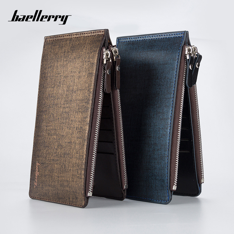 Baellerry Large Capacity Men Card Holder Case Wallet Leather Long Desgin Zipper ID Credit Card Bag Coin Purse Carteras New image