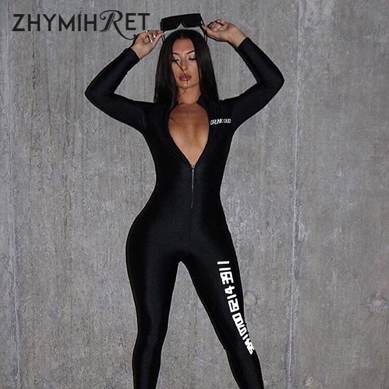 ZHYMIHRET Sexy V Neck Letter Print Black Jumpsuit Female Long Sleeve Zipper Front Skinny Overalls For Women Rompers