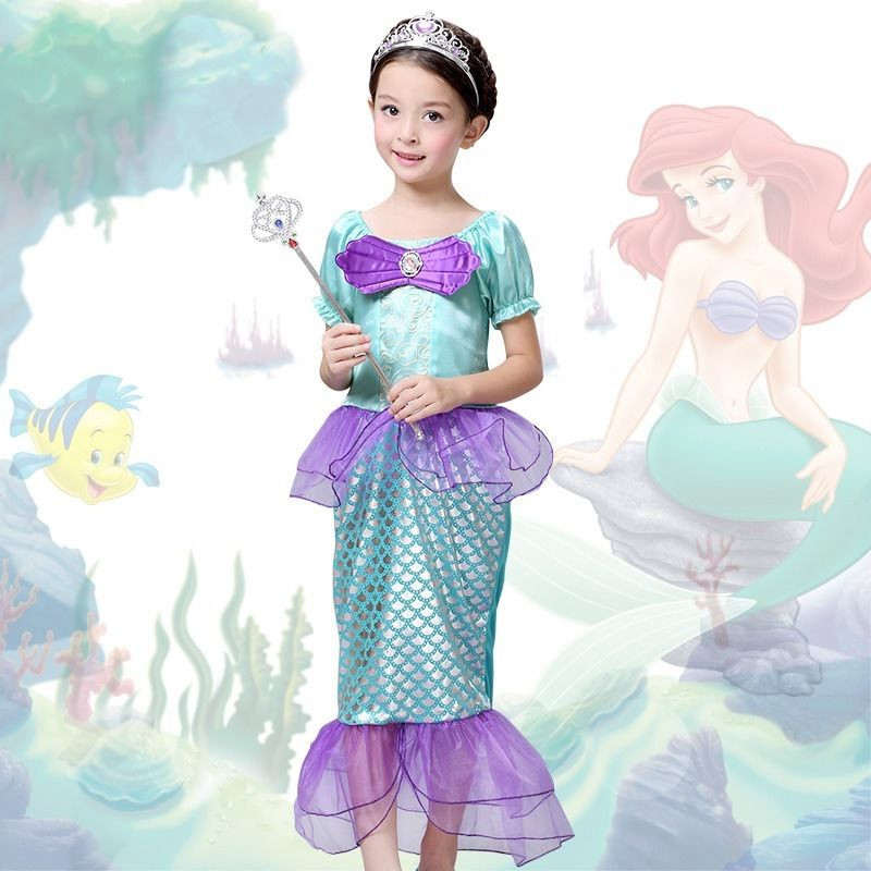 the little mermaid kids girls dress princess cosplay halloween costume hotchina mainland - Mermaid Halloween Costume For Kids