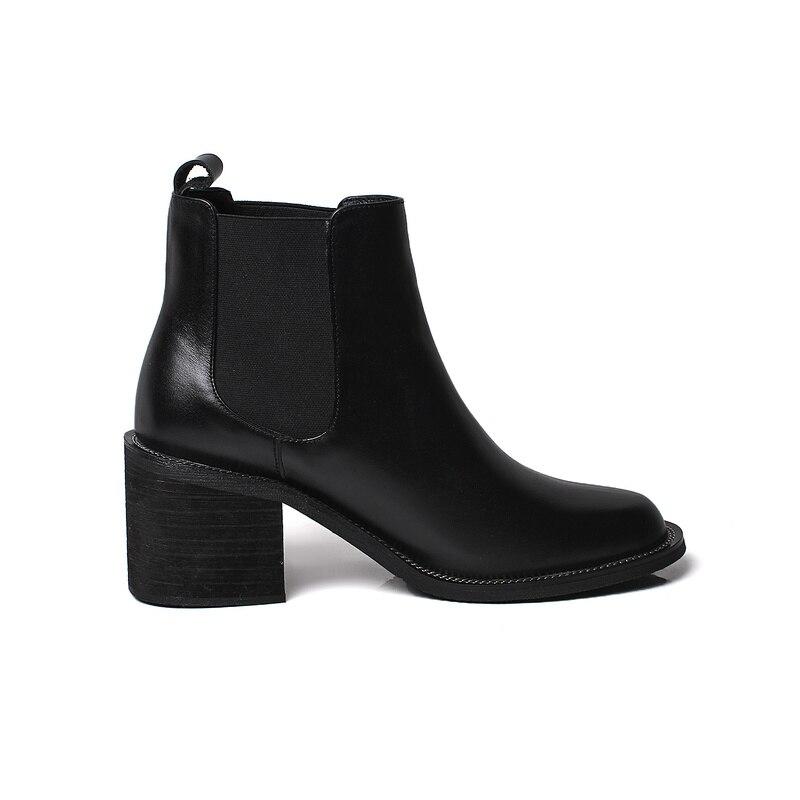 Nouveau Automne Haute Bottes Chaussures Femmes Salu Cheville Sexy Noir De Véritable Courtes Talons D'hiver Dames En Cuir wA7gZ