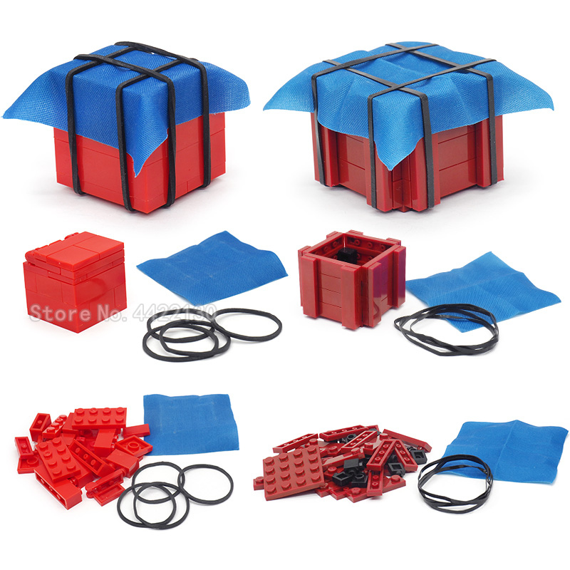 Legoinglys Airdrop Box Pubg Military Building Blocks Piece Lot Special Forces Figures Weapons Model Moc Toys For Children Gift