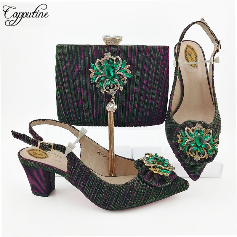 2019 Latest African Rhinestone Ladies Shoes And Bag Set Italian Design Ladies Middle Heels Shoes And Bag Set For Party M10882019 Latest African Rhinestone Ladies Shoes And Bag Set Italian Design Ladies Middle Heels Shoes And Bag Set For Party M1088