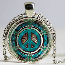 Hippie Peace Sign Glass Dome Pendant Necklace DIY Handmade Fashion Jewelry Vintage Charm Trendy Gift for Men Women HZ1