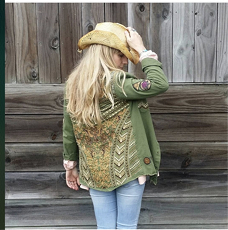 Spring autumn army military jacket women floral embroidery pattern rivets long sleeve cotton vintage coat with front two pockets