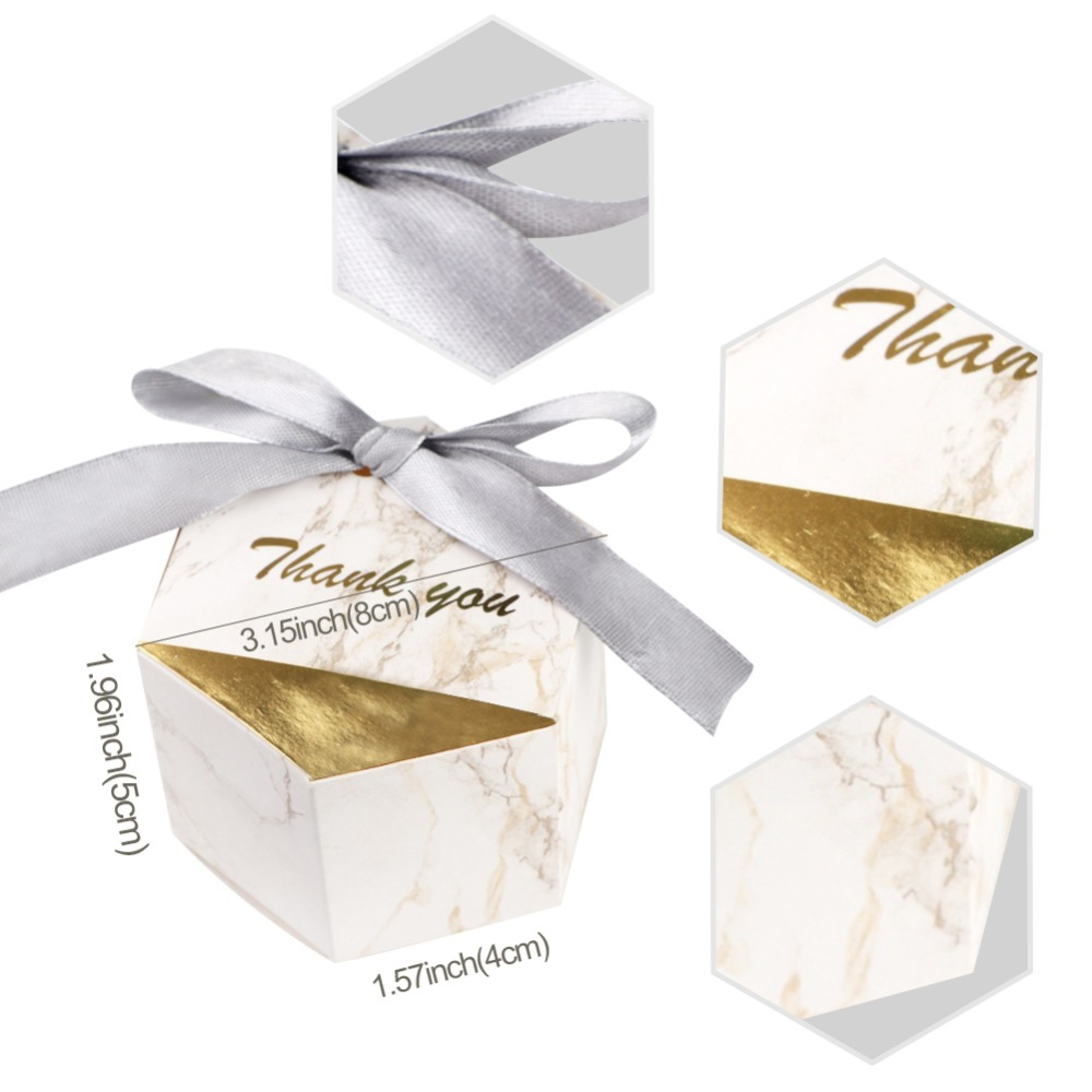 OurWarm 50pcs/lot Creative Marble Candy Boxes Wedding Favors Party ...