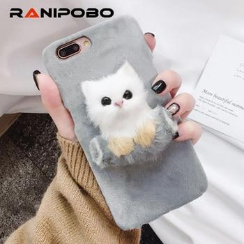 Lovely DIY Cat Furry Warm Phone Cases For iPhone 6 6S Plus 7 7Plus 8Plus Hard PC Plush hair Fur Back Cover for iPhone X резак для щеток стеклоочистителей