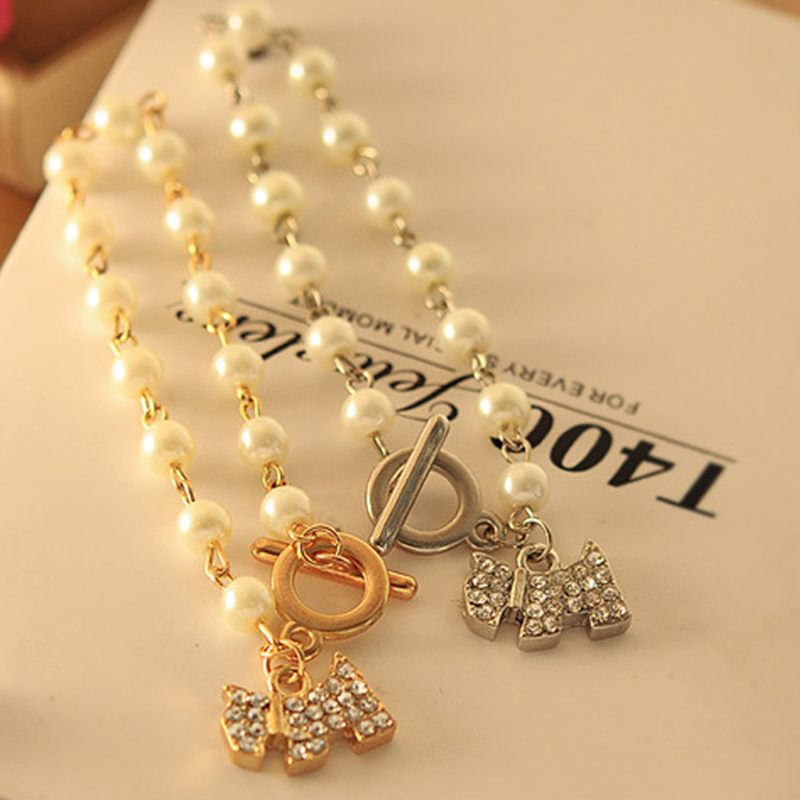 Full Small Simulated Pearl Bling Crystal Golden Silver Dog Pendant Beaded Bracelets for Women