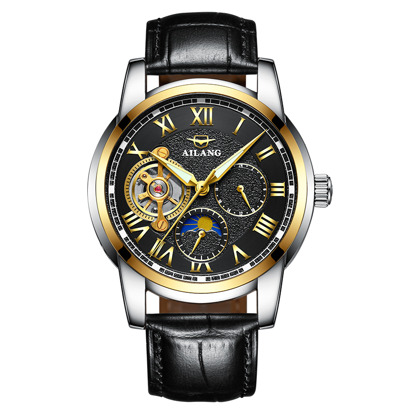 AILANG 8520 Switzerland watches men luxury brand automatic mechanical Skeleton Tourbillon Watch Men gold watch Relogio Masculino unique smooth case pocket watch mechanical automatic watches with pendant chain necklace men women gift relogio de bolso