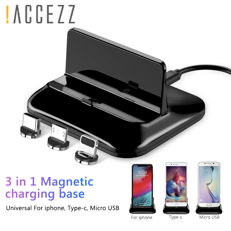 !ACCEZZ Magnetic Charge Stand Holder Lighting 8 Pin For Iphone 8 X Plus XS Type-C Micro USB For Samsung Huawei Universal Charger