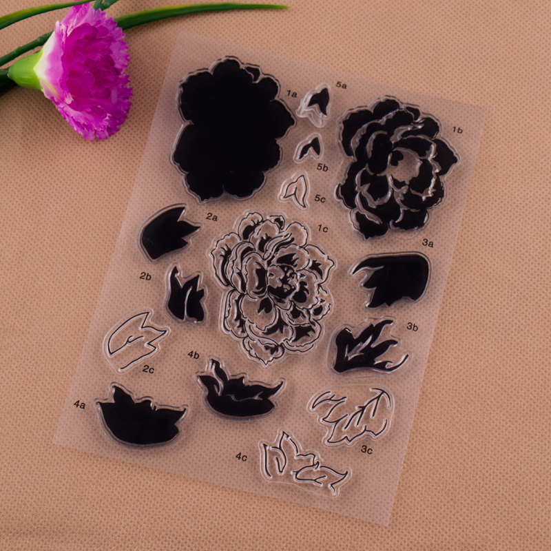 Flowers Transparent Clear Stamp For DIY Scrapbooking Photo Album Paper Craft lovely animals and ballon design transparent clear silicone stamp for diy scrapbooking photo album clear stamp cl 278