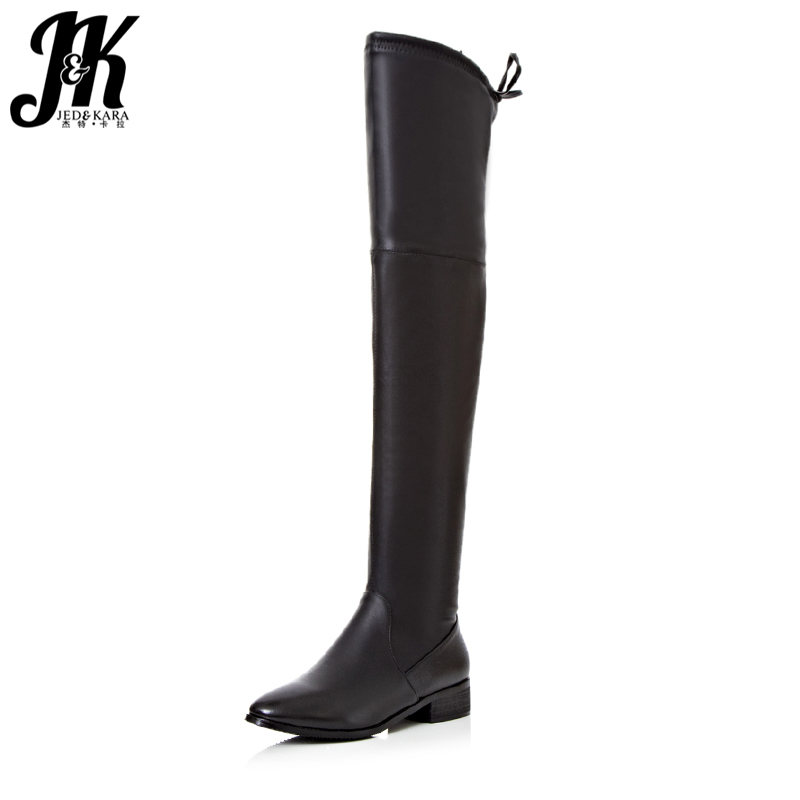 J&K 2018 Sexy Leggings Over the Knee Boots Women Short Plush Warm Winter Boots Chunky Heels Shoes Woman Thigh High Footwear