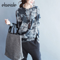 elseisle Women Floral Print Hoodie Sweatshirt Big Size Long Sleeve Elegant Warm Winter Pullover Vintage O neck Casual Hoodies