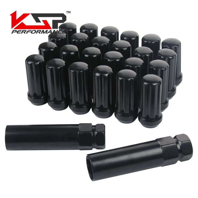 KSP Set of 24 Pieces Black 14x1.5 Closed End Duplex XL Spline Lug Nuts With 2 Keys For CHEVY GMC SILVERADO HUMMER