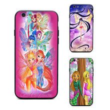 Winx club casos de telefone TPU + PC Preto capas para iPhone X 6 7 8 plus 5 5S 6 s se para A Apple X melhor caso diy(China)