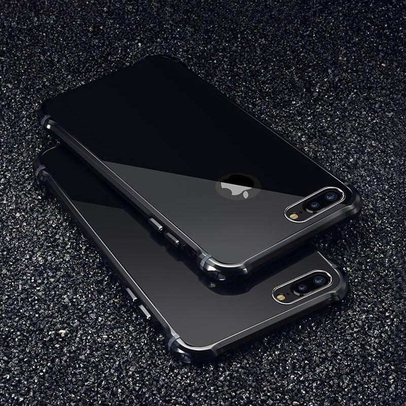 Galleria fotografica For iPhone 7 Case Luxury Glitter Hard Aluminum Metal+Acrylic Protective Back Phone Case For iPhone 6 6s 7 plus Case Cover