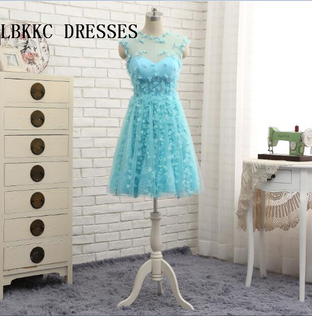 Baby Blue   Cocktail     Dresses   Knee Length Vestidos De Coctel Formal Party Gown Girl Birthday   Dress   Robe De   Cocktail   Longueur Genou