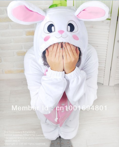Nueva Animal adulto mujeres Fleece manga larga conejo blanco pijama pijama Cosplay Unisex