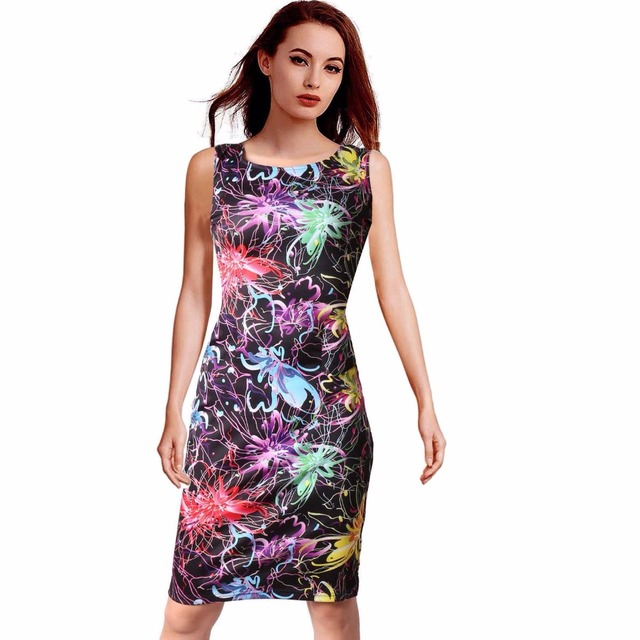 9a9177d4972 Women Dress Casual Summer Vestidos Sleeveless Plus Size 22 Styles Floral  Print O-Neck Dresses 108-20