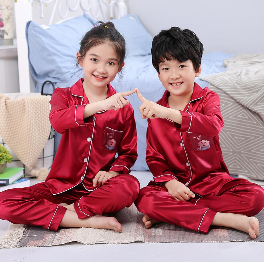 2019 Autumn Spring Silk Children Pajamas Set Long Sleeve Girl Cloth Set Lovely Kid's Pyjamas Boy Sleepwear Clothes Gift eye mask(China)