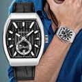 Benyar Tonneau Watch Men Dress Watch Waterproof Quartz Genuine Leather Wrist Watch Men Clock Male hodinky erkek kol saati