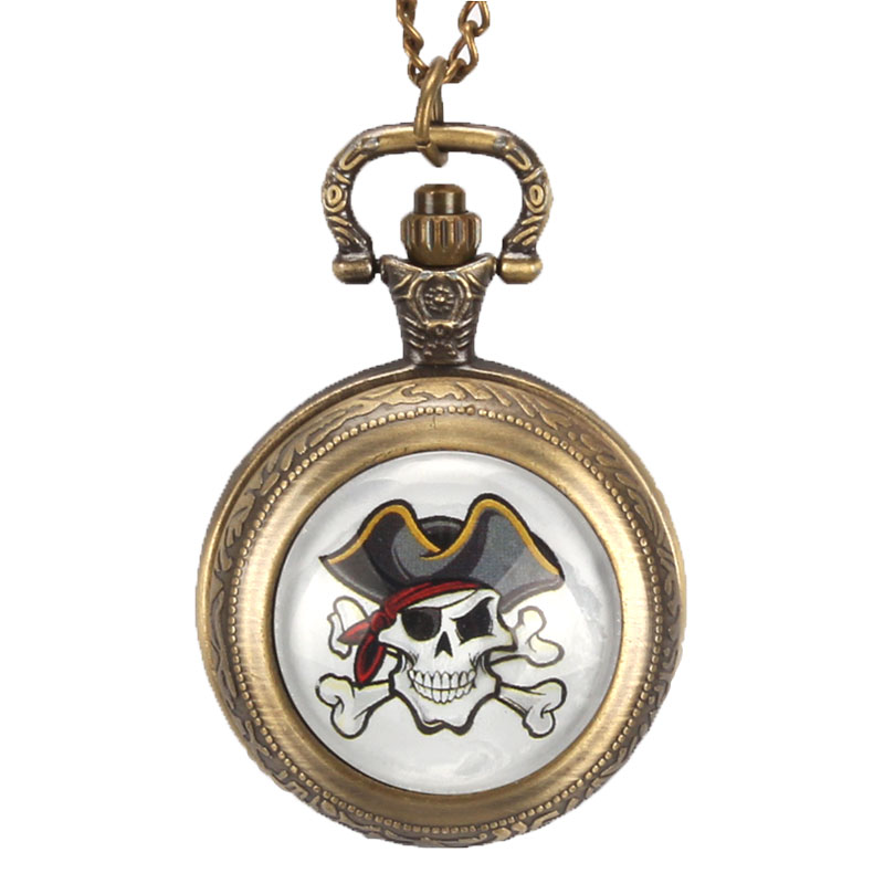 Fashion Copper Pirates of the Caribbean Awesome Skull Quartz Pocket Watch Mens Boys Necklace Pendant Gifts reloj de bolsillo antique smooth black mini toy pocket watch men women retro pendant necklace quartz watch mini gift chain reloj de bolsillo