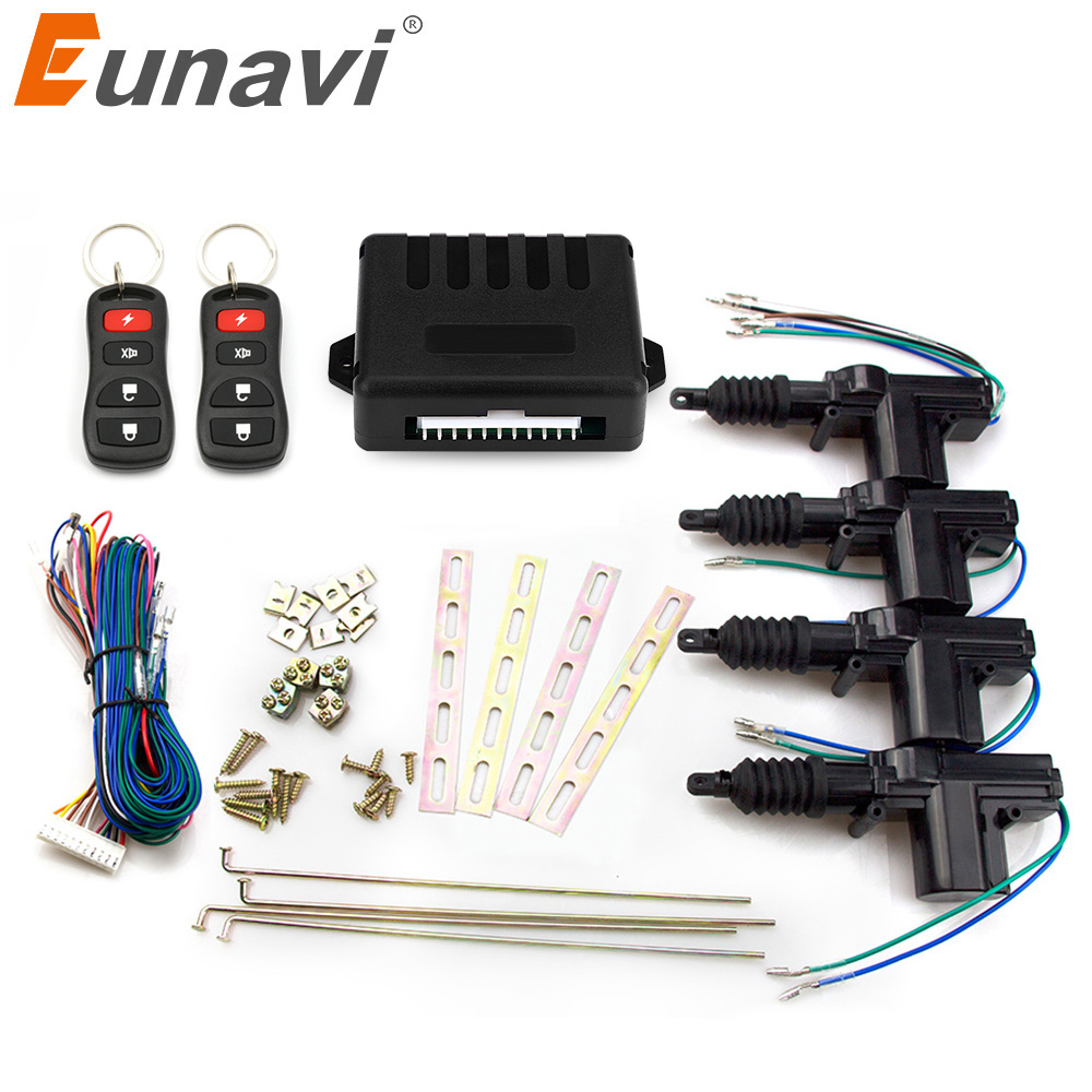 Eunavi Universal Auto central lock Car Power Door Lock Actuator 12-Volt Motor (4 Pack) Car Central Locking Keyless Entry System door lock motor general purpose actuator kit door lock motor keyless entry concentrated for universal car 12 v power door lock