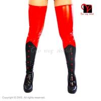 Sexy Rood Zwart Latex seamed kousen Glam Knie hakken voeten Rubber overknee lange Been Gummi wear plus size XXXL WZ-004