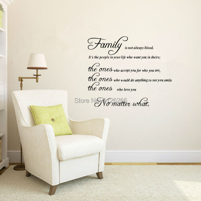 Wall Decals Quotes Family Is Not Always Blood Removable Vinyl Wall - Removable vinyl wall decals for home decor