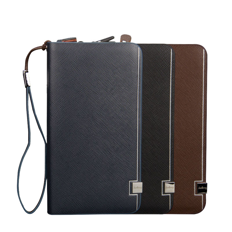 Baellerry 2019 Luxury Brand Men Wallets Long Men Purse Wallet Male Clutch Leather Zipper Card Holder Business Money Coin Purse(China)