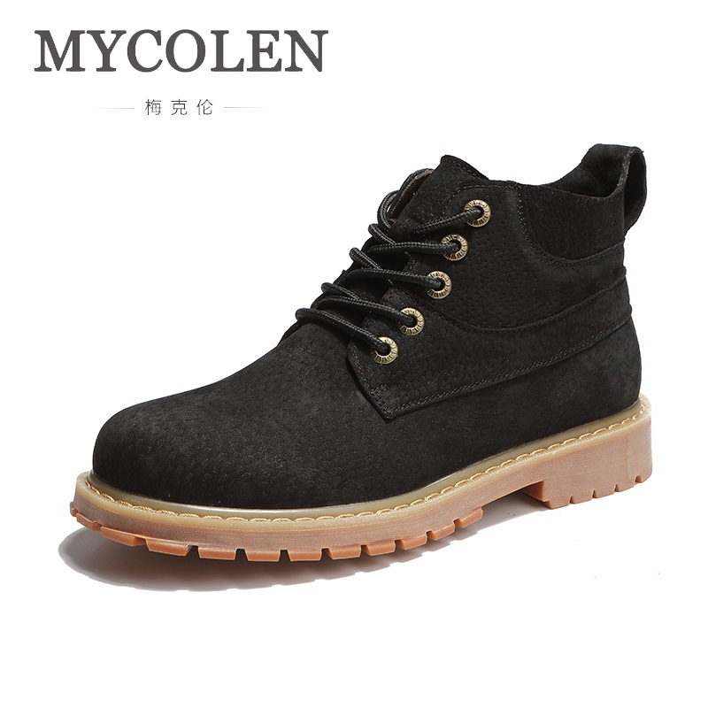 все цены на MYCOLEN 2018 New Arrival Spring And Autumn Luxury Fashion Men Shoes Leather Style Fashion Male Work Shoes Boot Bota Masculina онлайн