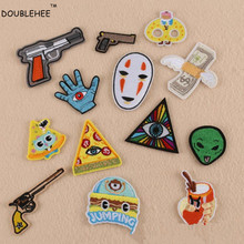 DOUBLEHEE Embroidered Iron On Patches Gun Eyes Money Pizza Green Aline Design Embroidery Bdeges DIY Coat Shoes Accessories