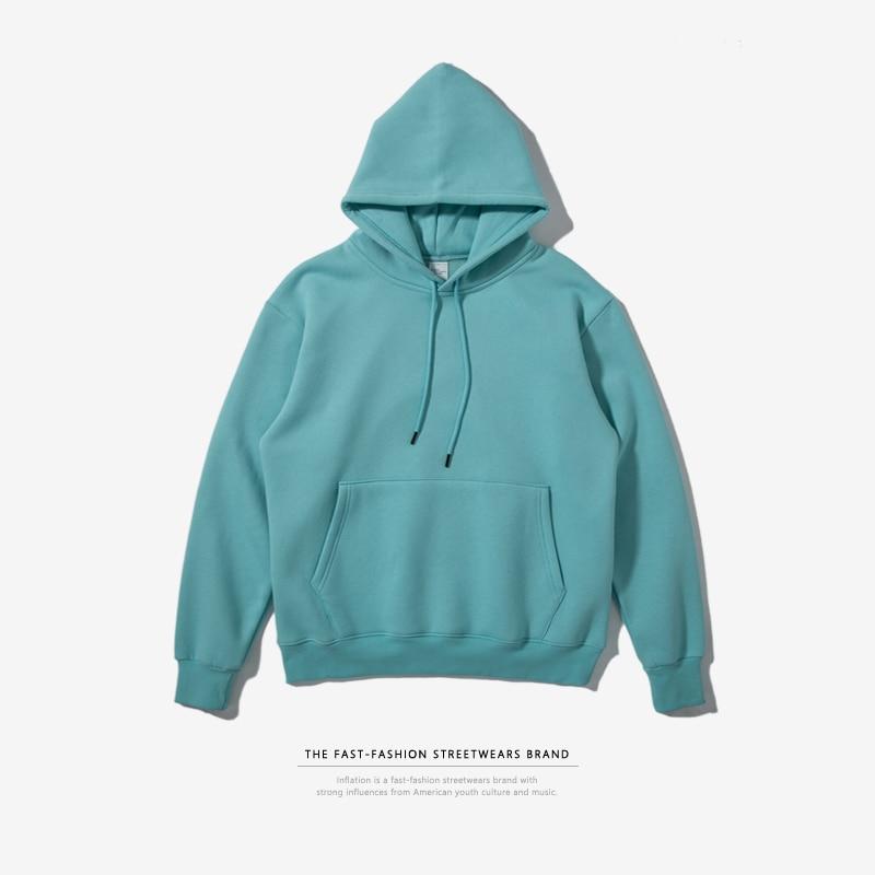 INFLATION 2018 Spring Men Thick Fleece Hoodies Hip Hop Hoodies Thick Velvet Fabrics Winter Hoodies For Men Brand Clothes 167W17