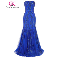 Grace Karin Evening Dress Long Strapless Blue Mermaid Prom Gowns Robes De Soiree Tulle Sequined Special Occasion Dresses 2018