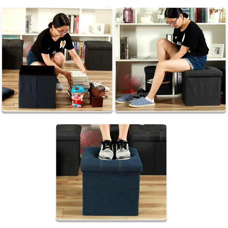 Multifonctionnel Denim tissu sétable boîte de rangement carré 24L repose-pieds chaise chaussures à langer tabouret fort bac de rangement canapé pliant