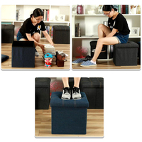 Multifunctional Denim Fabric Seatable Storage Box Square 24L Foot Rest Chair Changing Shoes Stool Strong Storage Bin FoldingSofa