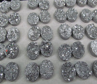 50pcs 10x20mm Titanium Agate beads Druzy Agate oval egg Beads Pendants Drusy Quartz Cabochons Charms Necklace Jewelry