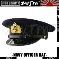 WW2 Japan Army Caps Collectibles Black Large Brimmed Hats Woolen Navy Officer Hat high quality replica JP/401102