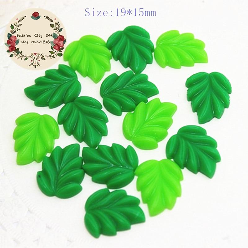 20pcs Mix Colors 19*15mm Cute Resin Green Leaf Flatback Cabochon For DIY Crafts Scrapbooking