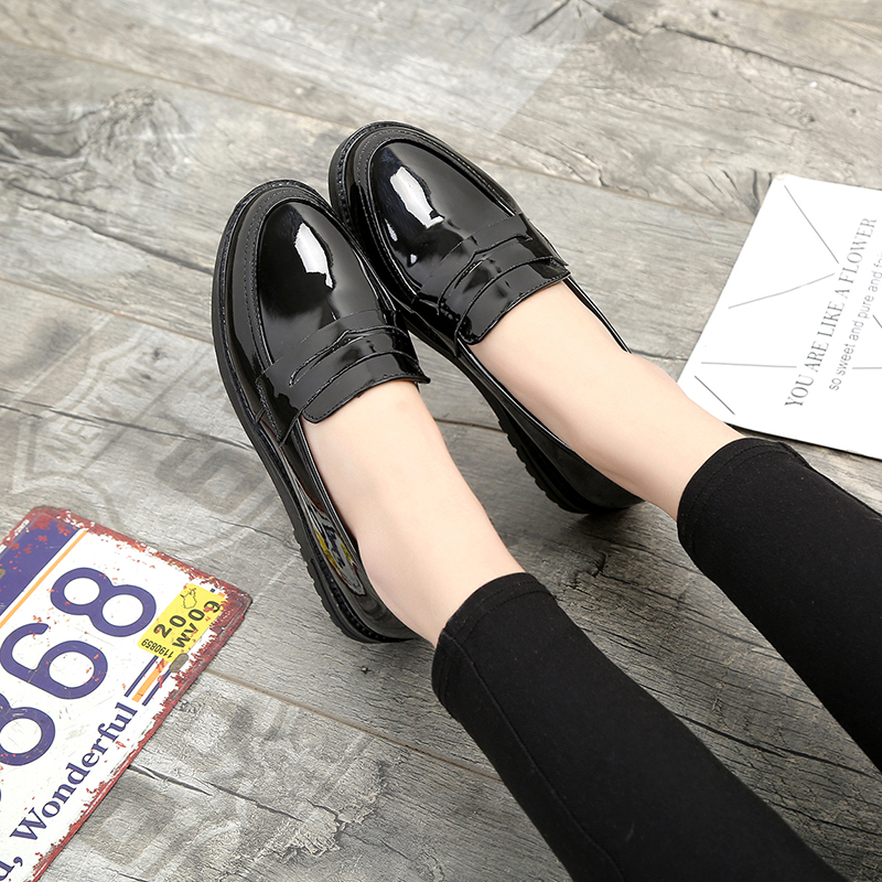 Cuero Otoño Creepers Pisos Zapatos Mujer Nueva Plataforma Primavera Color De Gun 2018 Planos Zapatillas black Deslizamiento En Pu Casuales q1SEw