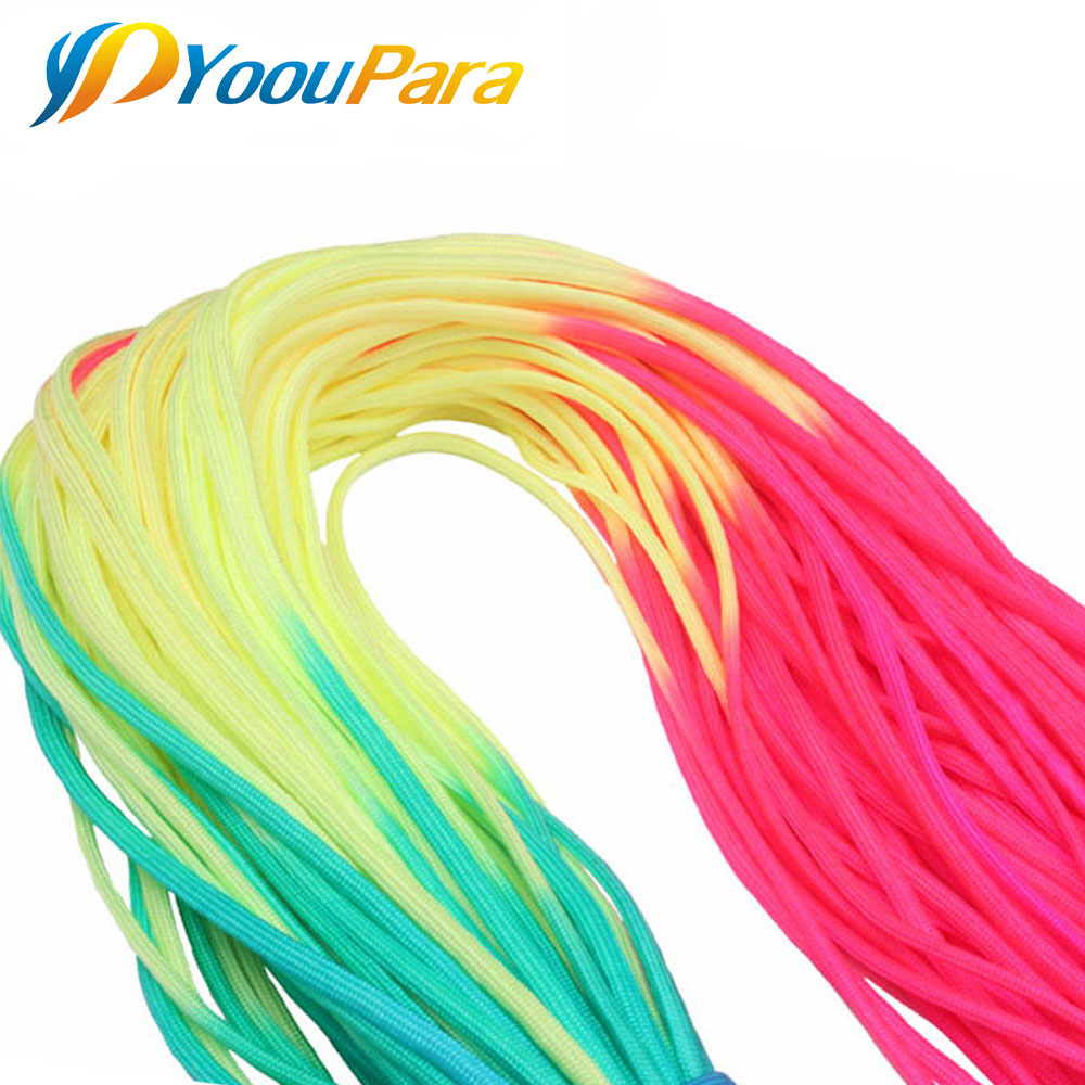 50FT Rainbow Paracord 4mm Nylom 7 Stands Parachute 550lb Rope For Outdoor Camping Tent DIY Paracord Bracelet Cord