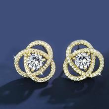 Luxury Stud Earrings Gold Color Flower Flash CZ Zircon Ear Studs Letter Women Wedding Jewelry
