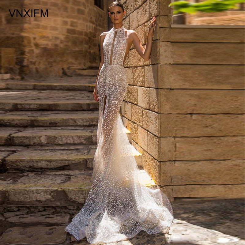 VNXIFM 2019-bridal-sleeveless-halter-jewel-neck-keyhole-bodice-full-slit-skirt-glamorous-sexy-fit-and-flare-wedding-dress