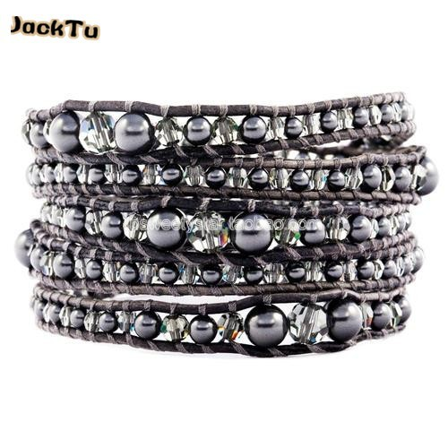fashionable grey stone with crystal mixed sizes leather wrap bracelet 5d1053fdc6bf