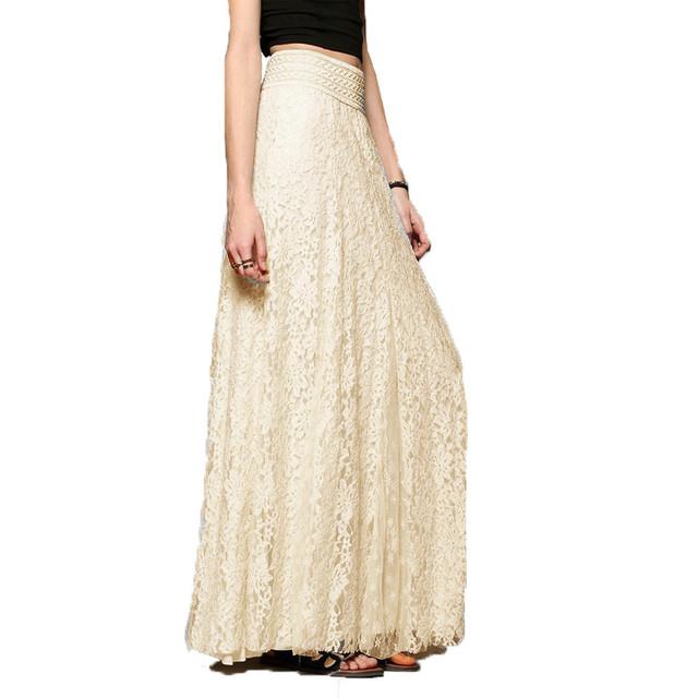 2017 Nueva Falda de la Señora Elegante de La Alta Cintura Plisada Falda de Una Línea Faldas de Tul de Encaje Rectas de Malla Skater Beige Blanco Maxi falda